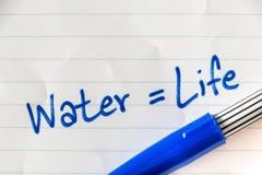 Sparen water op pagina Stock Foto