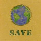 Sparen woord met aarde op gerecycleerd document Stock Fotografie