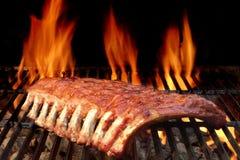 Spareribs задней части или свинины младенца на горячем пламенеющем гриле Стоковые Фотографии RF