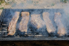 Spareribs on the Barbecue Grill Stock Images