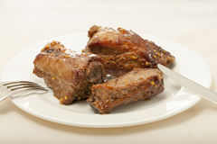 Spareribs cooked in mustard and honey sauce Royalty Free Stock Photography