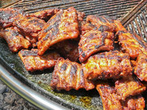 Spareribs on grill Royalty Free Stock Photography