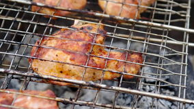 Spareribs on the grill. Summer barbecue concept. stock footage