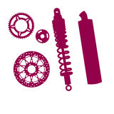 Spares for bike. Set of Spares, brake disc, muffler, spring, gears Stock Image
