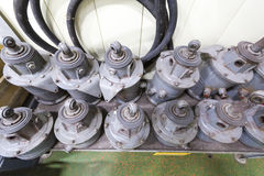 Spares for underground trains. Spare parts for old passenger subway train Stock Photo