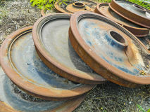 Spares wheels for railway wagon. Spare wheels for railway wagon standing in the open air Royalty Free Stock Photography