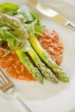 Spargel auf einem Bett von gazpacho Salsa Lizenzfreie Stockfotos