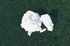 spargimenti della palla da golf dell'illustrazione 3D ai pezzi dopo che un forti colpo e palla in erba, fine sulla vista sul T pr Immagini Stock