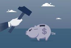 Spargris för Broking för handhållhammare med besparingar vektor illustrationer