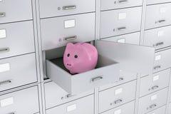 Spargris i öppnad ask för säker insättning för bank framförande 3d stock illustrationer