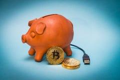 Spargris med bitcoinmynt och USB anslutning Fotografering för Bildbyråer