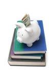 Spargris med dollarräkningen som ut klibbar på en bunt av böcker Arkivfoton