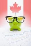 Spargris med flaggan på bakgrund - Kanada Fotografering för Bildbyråer