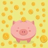 Spargris- och myntpengarvektor Royaltyfria Foton