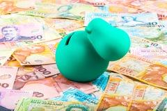 Spargris på nyazeeländska pengar Royaltyfri Foto