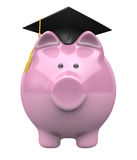 Spargris som bär ett avläggande av examenlock, besparingfond för högskoleutbildning Fotografering för Bildbyråer
