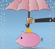 Spargris som skyddas från regn Skydd försäkring Vektor Illustrationer