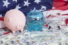 Spargrisar på dollar med amerikanska flaggan royaltyfria foton