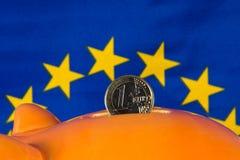 Spargrisen med ett euromynt, EU sjunker i bakgrund Arkivfoto