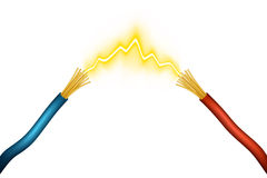 Spark. Editable  illustration of an electrical spark between positive and negative wires made using gradient meshes Royalty Free Stock Photography