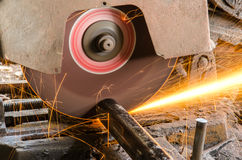 Spark Fire. While cutting steel in manufacturing factory Stock Images