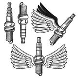 Spark plug with angelic wings vector objects. Spark plug with angelic wings set of vector objects and design elements in monochrome style isolated on white Royalty Free Stock Photo