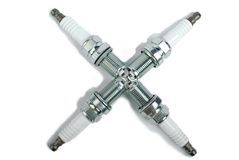 Spark plug as cross Stock Photo