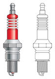 Spark plug vector. Coloured and outline of a generic automotive spark plug illustration vector illustration