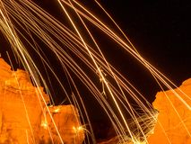Spark from steel wool. Sparks from spinning steel wool look like a lava eruption Royalty Free Stock Photos