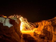 Spark from steel wool. Sparks from spinning steel wool look like a lava eruption Stock Photography