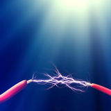 Spark between two wires Royalty Free Stock Image