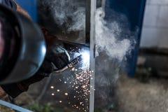 Spark 5. Welder is welding metal construction Royalty Free Stock Image