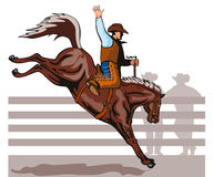 sparka bakut cowboyridning för bronco Royaltyfri Fotografi