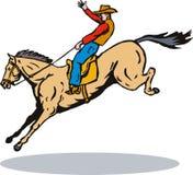 sparka bakut cowboyrodeo för bronco stock illustrationer