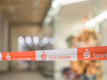 Sparkasse barrier tape Royalty Free Stock Images