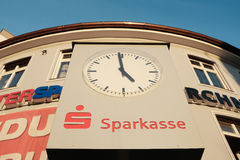 Sparkasse clock Royalty Free Stock Image