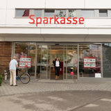 Sparkasse customers Royalty Free Stock Image