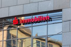 Sparkasse immobilien sign in bochum germany stock photos