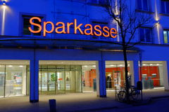 Sparkasse at night Royalty Free Stock Photo