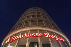 Sparkasse Siegen tower at night, Germany Stock Photo