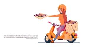Sparkcykel för elkraft för ridning för pizzahemsändningung flicka stock illustrationer