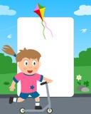 sparkcykel för push för ramflickafoto Fotografering för Bildbyråer