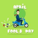 Sparkcykel för ritt för affärsman elektrisk med cans, första April Fool Day Happy Holiday hälsningkort Arkivbild