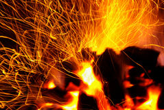 Sparking Coals Stock Photo
