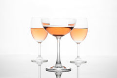 The sparking rose wine in the wine glass group set Stock Image