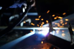 Sparking from welding process in blurly motion 2 Stock Photos