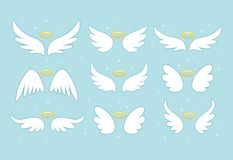 Sparkle angel fairy wings with gold nimbus, halo isolated on background. Vector cartoon design.  royalty free illustration