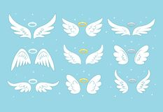 Sparkle angel fairy wings with gold nimbus, halo isolated on background. Vector cartoon design.  stock illustration