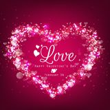 Sparkle bright background with pink heart Royalty Free Stock Photo