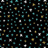 Sparkle doodle seamless pattern in gold color Stock Photo